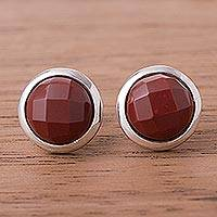 Jasper button earrings, 'Circular Treasures' - Circular Jasper Button Earrings from Peru