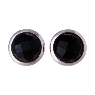 Circular Obsidian Button Earrings from Peru