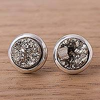Pyrite button earrings, 'Circular Treasures' - Circular Pyrite Button Earrings from Peru