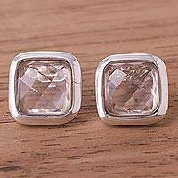 Quartz button earrings, 'Square Treasures'