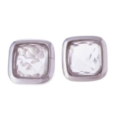 Quartz button earrings, 'Square Treasures' - Square Quartz Button Earrings from Peru