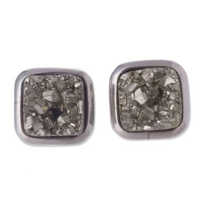 Pyrite button earrings, 'Square Treasures' - Square Pyrite Button Earrings from Peru