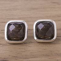 Smoky quartz button earrings, 'Square Treasures' - Square Smoky Quartz Button Earrings from Peru