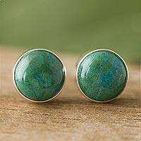 Chrysocolla stud earrings, 'Life Orbs' - Circular Chrysocolla Stud Earrings from Peru