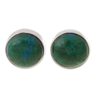 Circular Chrysocolla Stud Earrings from Peru