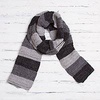 100% alpaca scarf, 'Night Lines' - Handwoven 100% Alpaca Scarf in Grey from Peru