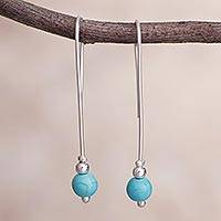 Sterling silver drop earrings, 'Turquoise Path' - Sterling Silver and Turquoise Drop Earrings from Peru