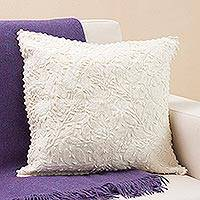 100% alpaca cushion cover, 'Empire of Flowers' - Handcrafted 100% Alpaca Cushion Cover from Peru