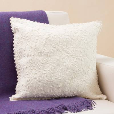 Alpaca cushion cover, 'Empire of Flowers' - Handcrafted 100% Alpaca Cushion Cover from Peru