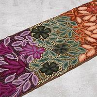 Wool table runner, 'Exquisite Flowers' - Handwoven Floral Motif 100% Wool Table Runner from Peru
