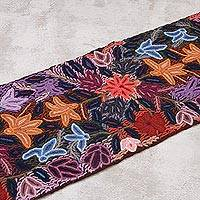 100% alpaca table runner, 'Fabulous Flowers' - Handwoven 100% Alpaca Floral Table Runner from Peru
