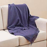 100% baby alpaca throw, 'Blissful Dream in Blue-Violet' - Baby Alpaca Throw Blanket in Solid Blue-Violet from Peru
