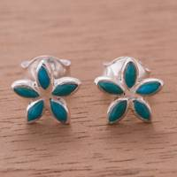 Chrysocolla stud earrings, 'Marquise Bursts' - Marquise Chrysocolla Stud Earrings from Peru