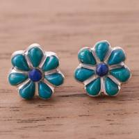 Chrysocolla and lapis lazuli stud earrings, 'Children of Nature' - Floral Chrysocolla and Lapis Lazuli Stud Earrings