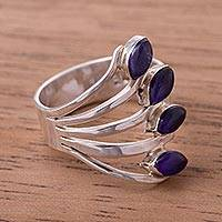 Amethyst multi-stone ring, 'Radiant Leaves' - Amethyst Multi-Stone Cocktail Ring from Peru
