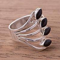 Onyx multi-stone ring, 'Radiant Leaves' - Onyx Multi-Stone Cocktail Ring from Peru