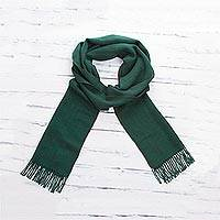 100% alpaca scarf, 'Fine Forest' - Emerald Green Unisex 100% Alpaca Woven Scarf from Peru