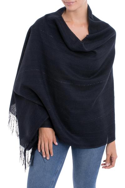 100% alpaca shawl, 'Deep Sky' - Midnight Blue 100% Alpaca Woven Fringed Shawl from Peru