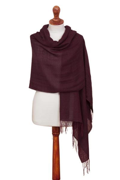 100% alpaca shawl, 'Berry Mocha' - Berry and Brown 100% Alpaca Woven Fringed Shawl from Peru