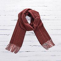 100% alpaca scarf, 'Desert Mesa' - Russet Red Unisex 100% Alpaca Woven Scarf from Peru