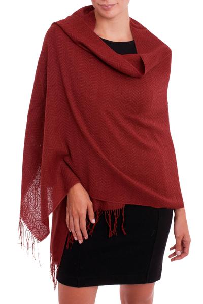 100% alpaca shawl, 'Harvest Apple' - Crimson Red Subtle Chevron Pattern 100% Alpaca Woven Shawl