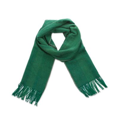 100% alpaca scarf, 'Luxe' - Unisex Woven Emerald Green Alpaca Scarf from Peru