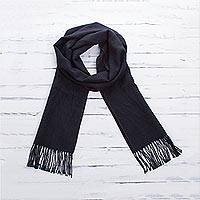 100% alpaca scarf, 'Evening Mariner' - Woven Midnight Blue 100% Alpaca Scarf from Peru