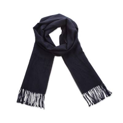 100% alpaca scarf, 'Evening Mariner' - Woven Midnight Blue 100% Alpaca Scarf from Peru