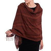 Alpaca blend shawl, 'Subtle Current' - Chestnut and Maroon Subtle Patterns Alpaca Blend Woven Shawl