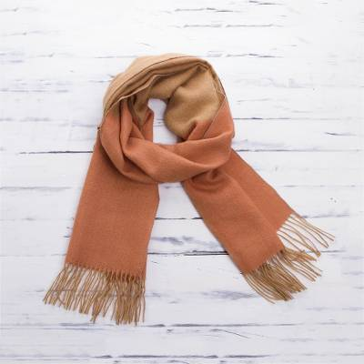 Baby alpaca blend scarf, 'Peach and Caramel' - Peach and Beige Color-Blocked Alpaca Blend Woven Scarf