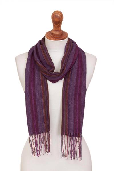 100% alpaca scarf, 'Dawn Horizon' - Multicolor Purple Striped 100% Alpaca Fringed Woven Scarf
