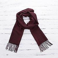 100% alpaca scarf, 'Cabernet' - Maroon 100% Alpaca Woven Textured Unisex Scarf from Peru
