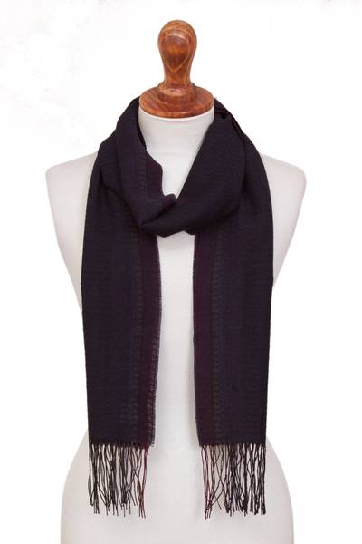 100% alpaca scarf, 'Ocean Horizon' - Midnight Blue and Fuchsia Stripe Textured Woven Alpaca Scarf