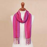 100% alpaca scarf, 'Begonia' - Pink and Purple Vertical Stripe Alpaca Woven Fringed Scarf