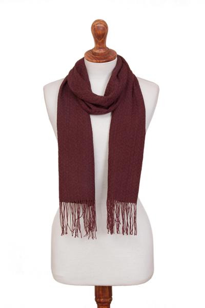 100% alpaca scarf, 'Best Vintage' - Burgundy 100% Alpaca Textured Woven Fringed Scarf from Peru