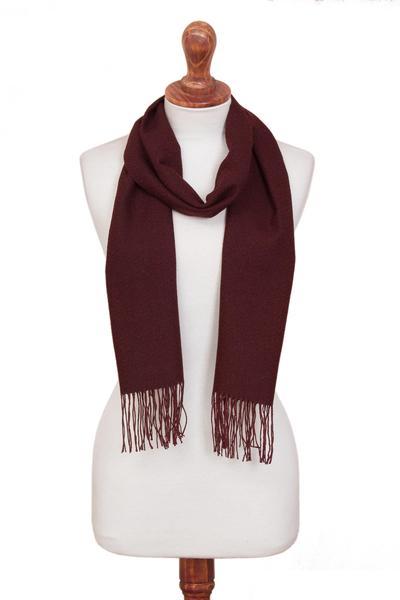100% alpaca scarf, 'Vintner's Choice' - Burgundy 100% Alpaca Diamond Pattern Woven Fringed Scarf
