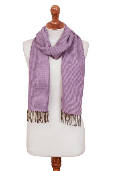 Alpaca blend scarf, 'Delicate Lilac' - Lilac Fine Diagonal Stripe Alpaca Blend Woven Fringed Scarf