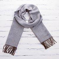 Baby alpaca blend scarf, 'Fashionista in Dove Grey' - Baby Alpaca Blend Wrap Scarf in Dove Grey from Peru