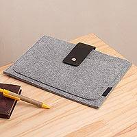 Leather accent wool and alpaca blend tablet case, 'Executive Fashion' - Leather Accented Wool and Alpaca Blend Tablet Case