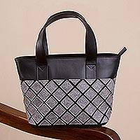 Leather accented wool and alpaca blend tote, 'Chic Woman' - Leather Accented Wool and Alpaca Blend Tote from Peru