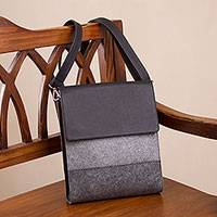 Leather accented wool and alpaca blend sling, 'Travel with Style' - Leather Accented Wool and Alpaca Blend Sling in Grey