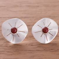 Jasper button earrings, 'Chiribaya Discs' - Jasper and Sterling Silver Button Earrings from Peru