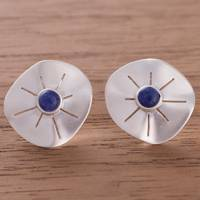 Sodalite button earrings, 'Chiribaya Discs' - Sodalite and Sterling Silver Button Earrings from Peru