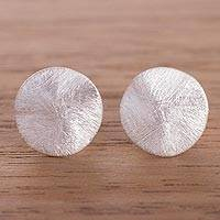 Sterling silver stud earrings, 'Subtle Gleam' - Modern Sterling Silver Stud Earrings from Peru