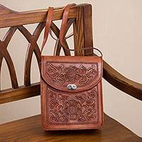 Leather sling, 'Flower Adventure' - Colonial Floral Motif Leather Sling from Peru