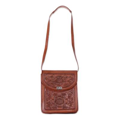 Colonial Floral Motif Leather Sling from Peru