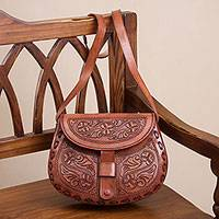 Leather sling, 'Fairy Dance' - Handcrafted Colonial Leather Sling Handbag from Peru