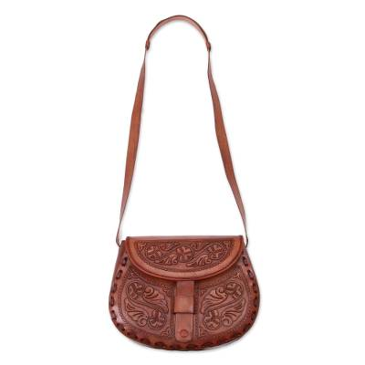 Handcrafted Colonial Leather Sling Handbag from Peru