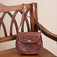 Leather sling, 'Lovely Tulips' - Adjustable Floral Leather Sling Handbag from Peru