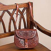Leather sling, 'Paradise of Flowers' - Handcrafted Adjustable Leather Sling Handbag from Peru